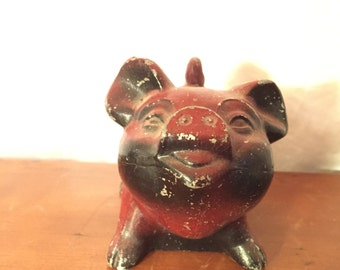 Vintage Steel Pig Piggy Bank, 1940's Cast Iron Bank, Red Antique Bank