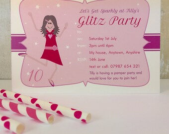 Pack of 16 Glitz and Glamour Personalised Party Invites or Thank You Cards