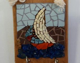 Sailboat Mosaic Key Hook Hanger