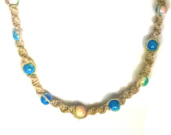 Blue Pink & Yellow Glass Beaded Hemp Necklace