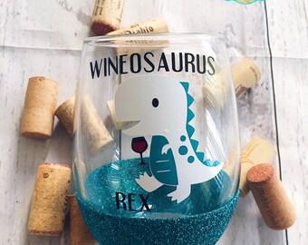 Wineosaurus//Glitter Dipped//Wino//Wine Glass//Punny//Wine Lover