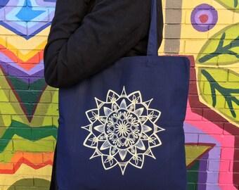 Hand-drawn Mandala Canvas Tote Bag - Navy