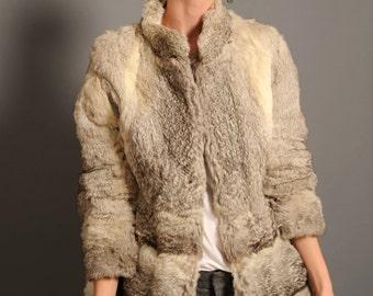 Women's fur coat, rabbit coat, 90s fur coat, short fur coat, size S fur coat, short rabbit coat, winter coat