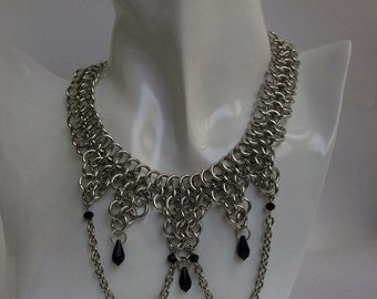 Chainmail Choker with Swarovski drops