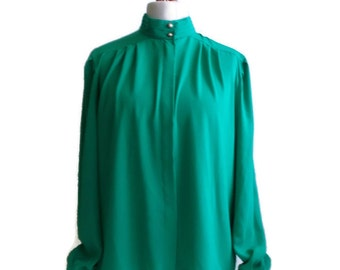 Vintage Blouse, Vintage Clothing, High neck Blouse, Blouse, Womens Shirts, Women Blouse, Vintage Jade Green Blouse, Button Blouse