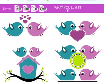 LOVE BIRDS SVG Valentine's Day monogram split svg lovebirds circle Border clipart download svg Valentine svg cricut frame dxf Silhouette 132