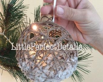 Snowed Wrapped Twine Burlap Christmas Ornament