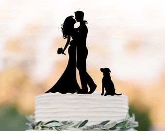 silhouette Wedding Cake topper with dog, custom dog cake topper for wedding, Bride and groom cake topper