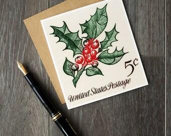 Christmas cards, Christmas holly, holly sprig, holly wreath, holly decor, unique Christmas cards, American Christmas, USA postage stamp art