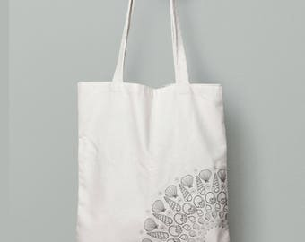Seashell Mandala. Hand illustrated 100% recycled tote bag. Shopping bag, bookish bag, gift for her.
