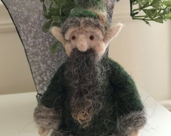 Neddle Felted Gnome in Forest Greens