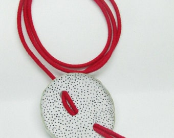 Jewelry necklace-leather jewelry-polka dot-Women's jewelry-gift ideas-handmade–special gift–elegant necklace-geometric-white-painted