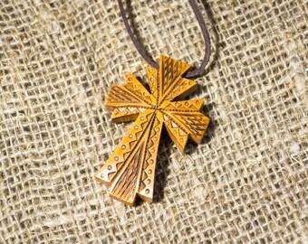 Wood Cross, Crucifix Necklace, Wooden Cross Necklace, Handmade Cross Charm
