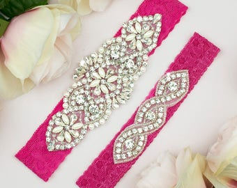 Bright Pink Garter, Hot Pink Garter Belt, Wedding Garter, Wedding Garter Set, Lace Garter Belt, Lace Garter , Hot Pink Bridal Garter 14-1A