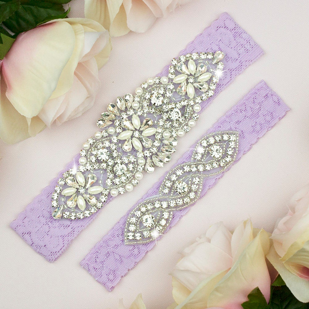 Light Purple Wedding Garter Purple Garter Set Wedding Garter