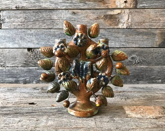 Vintage Mexican Art Pottery Tree Of Life Candle Holder, Tree Of Life Candelabra , Mexican Art Pottery