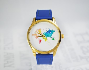 World Map Watch World Map Continents Watch Traveler Gift Cute Watch Cute Gift Watercolor Women Watches Wrist Watch Blue Leather Watch Strap