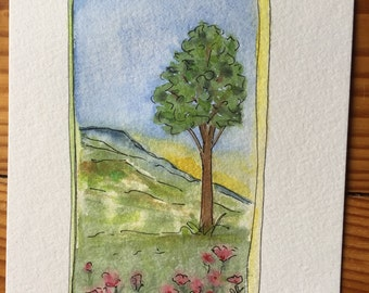 "An original Pen, and Ink, and Watercolor. ""Spring Fields"""