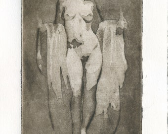 "Original engraving ""Venus"" /model Venus/nude/Venus of Milo / ancient Greek erotic/sculpture/art erotic, printmaking, etching, print erotic/erotic"
