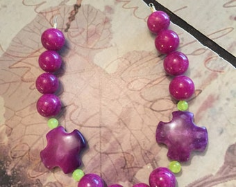Purple turquoise crosses with purple riverstones and neon yellow Jade beads
