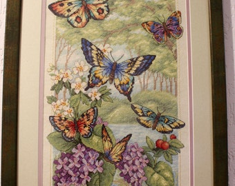 Handmade Butterfly forest.  Finished Cross Stitch pattern with framing.