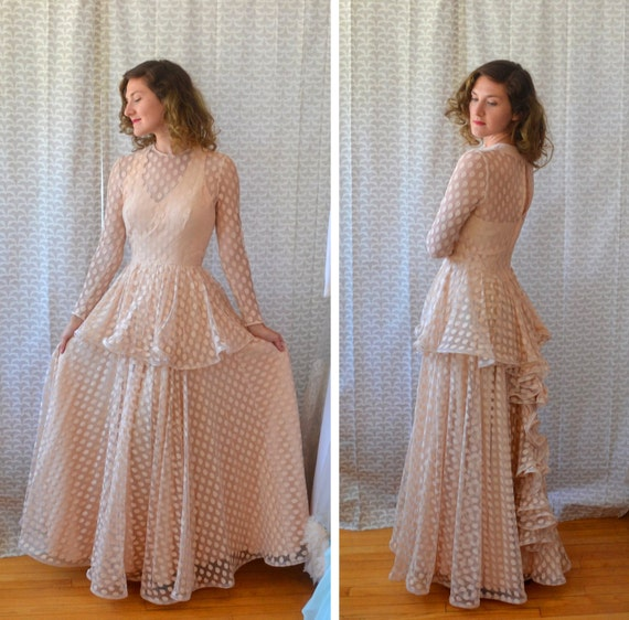 Effervescent Evening Gown | 40's Nude Sheer Polka Dot Evening Gown