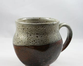 Wheel-thrown Mug with Red and White Glaze