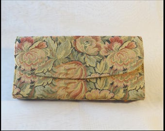 TAPESTRY CLUTCH PURSE Evening Bag Vintage 1950s Evening Bag Clutch Purse Vintage Purse by BrowseMyVintageShop