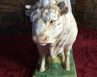 Ski Country Charolais Bull Bourbon Decanter, Hand painted, ltd ed.
