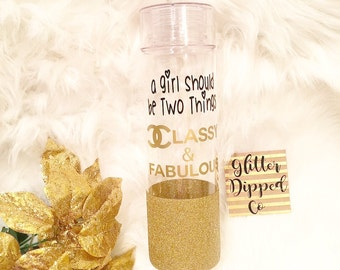 A Girl Should Be Two Things Classy & Fabulous//Coco Chanel//32oz Water Bottle//Glitter Dipped//Plastic BPA Free