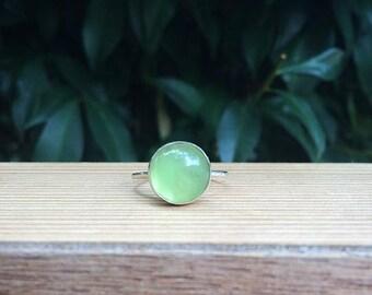 Green Aventurine Ring / Sterling Silver Ring / Small Aventurine / Green Stone Ring / Stack Ring / Stackable Ring / Stacking Ring