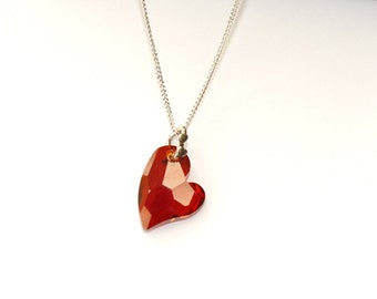 Red Magma Devoted to you Swarovski Crystal Heart Necklace,Red Magma Swarovski Crystal Sterling Silver Necklace, Mother's Day Gift, Jewellery