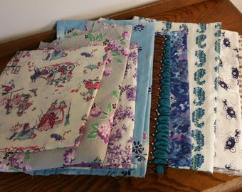 DESTASH  -  Vintage Fabric Scraps 40s 50s 60s Retro Blue Green Cool Colors Old Skirts