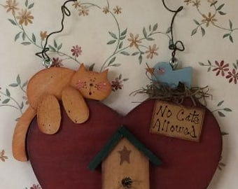 Cat Sign, Wooden Cat Plaque, No Cats Allowed, Cat Decoration, Kitchen Decoration, Wall Hanging, Cat and Birdhouse Sign, Wooden Sign