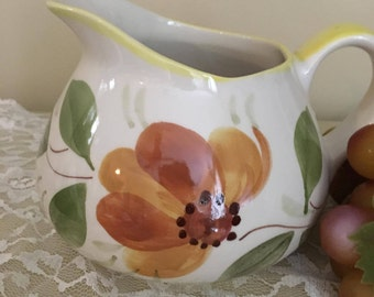 Hand Painted Floral Portuguese Pitcher