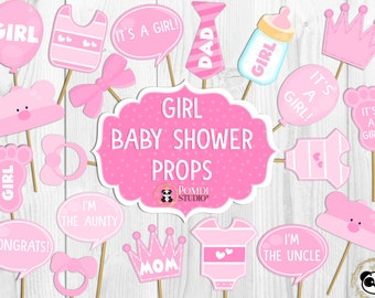INSTANT DOWNLOAD   Photo props/Decorations  Baby shower  Baby girl Large pack   22 images   Printable