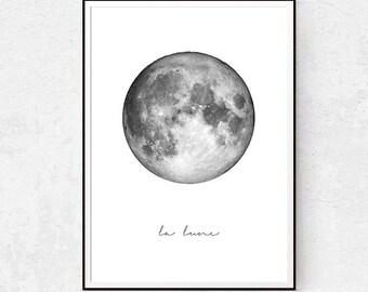La Lune, Moon Print, Nursery Wall Art, Scandinavian Poster, Minimalist Printables, Modern Minimalist Art, Black and White, Nursery Download.