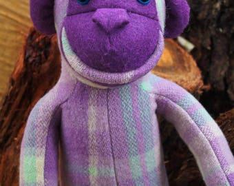Monkey toy - Blanket monkey - Vintage blanket toy - Upcycled blanket - Purple monkey