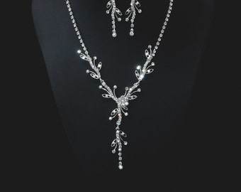 Thiva,Rhinestone Jewelry Set, Crystal Wedding Necklace Set, bridal jewelry set, wedding jewelry set, bridesmaid jewelry set.