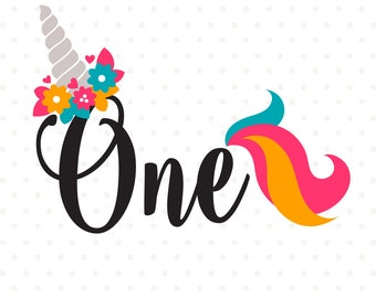 1st Birthday SVG, Unicorn Birthday SVG, Unicorn Party svg, First Birthday iron on file, 1st Birthday Shirt SVG file, One Years Old cut file