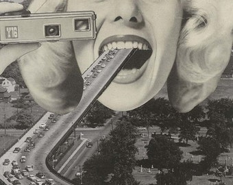 "Print - analog surrealist collage - ""The great Escape"" / Surreal analog collage"