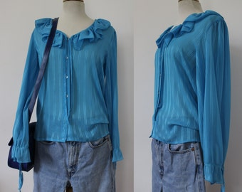 TED LAPIDUS long sleeved shirt / Blouse / 80's / 70's / blue / Turquoise / size 42 / Vintage / Froufrou / couture