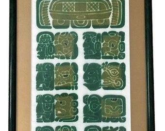 Vintage 1997 Chichen Itza Mayan Calendar Professionally Framed, has COA - Vintage Mayan Calendar Art Print - Wall Art - Mexican Art