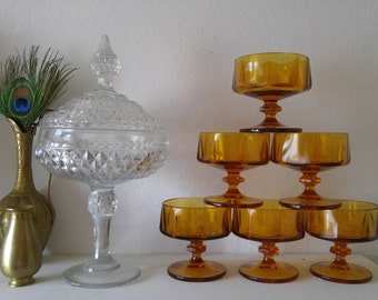Vintage Amber Dessert Stemware Goblets Colony style set of 6