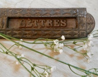 Letter Slot, Mail Drop Slot, Wabi Sabi Decor, Post Slot, Letters, French, Iron Letter Slot, Front Door Slot