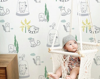 "Baby's room wallpaper ""Doudous"""
