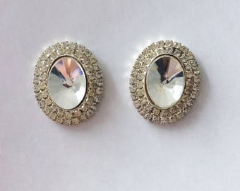 Vintage 1950's Hollywood Glamour Large Oval Paste Rhinestones Faceted Diamante Statement Earrings