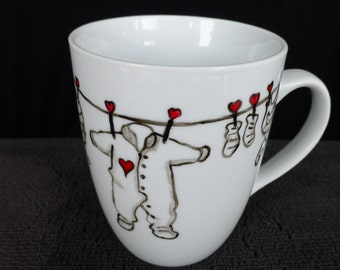 Porcelain mug cup baby clothes hand painted