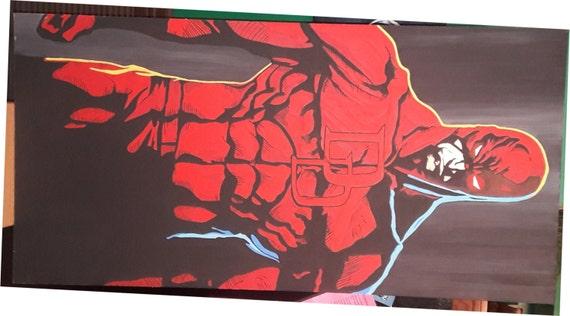 Marvel Comic Superhero Daredevil original acrylic painting