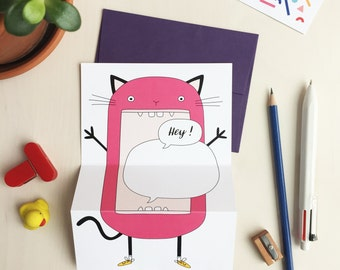 HEY! Cat greeting card